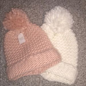 Light Pink and White Knitted hats